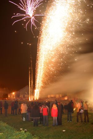 guy fawkes night: Fireworks during guy Fawkes night Stock Photo