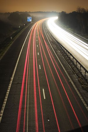Flow of traffic at night at long exposure  Stock Photo - 849289
