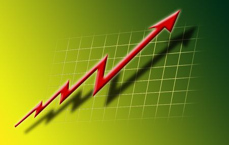 depicts: This is ilustration which depicts financial growth, red arrow rising in front on green gradient backround