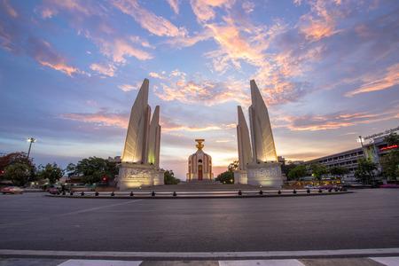 democracy Monument: Twilight Democracy Monument Bangkok Thailand Stock Photo