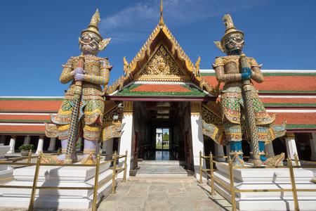 in wat phra kaew: The Wat Phra Kaew Temple of the Emerald Buddha Bangkok Thailand Stock Photo