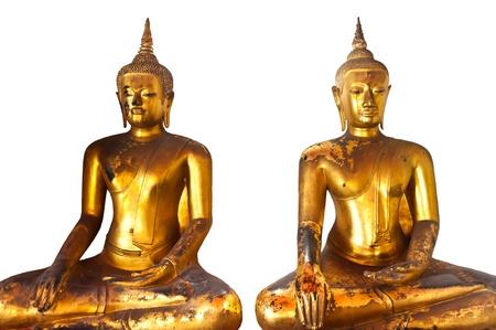 Ancient Buddha in Wat Pho Bangko,Thailand Stock Photo
