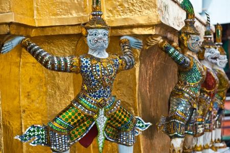 Monkey Warrior in Wat Prakeaw Bangkok,Thailand Stock Photo
