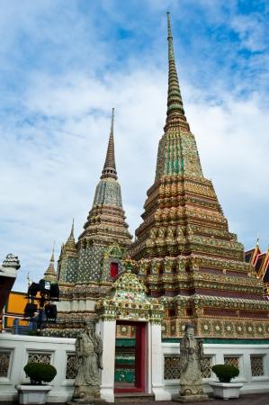 Double Pagoda in Wat Pho, Bangkok Thailand Stock Photo