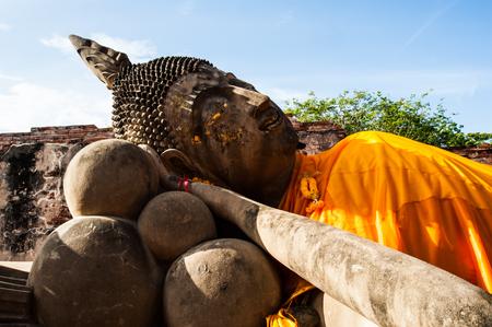 Ancient big Buddha in Ayuthaya Thailand