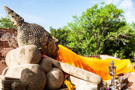 Ancient sleeping Buddha in Ayuthaya Thailand Stock Photo