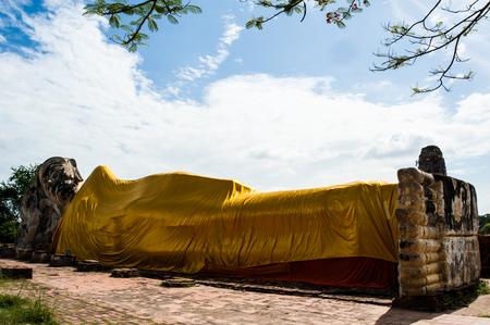 Ancient big Buddha at Ayuthaya in Thailand