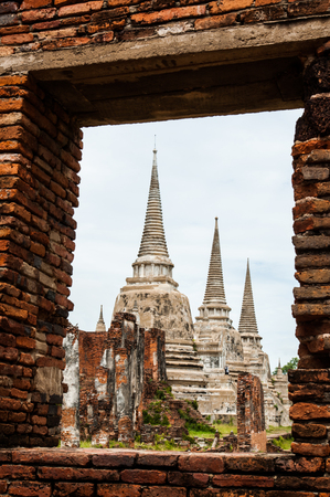 Looking from the window see the ruins of Ayutthaya in Thailand