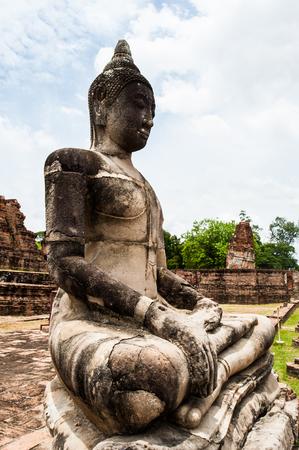 Ancient Buddha at Ayuthaya in Thailand