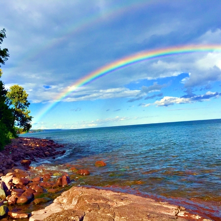 Rainbow overlooking the shores of Lake Superior