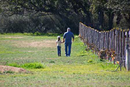 Girl holding hands with grandpa walking