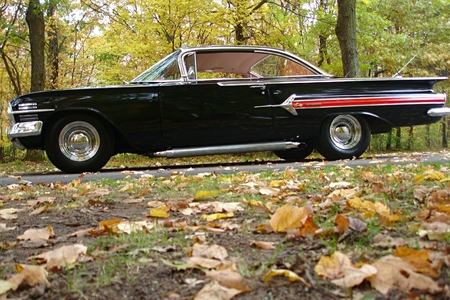 Cruising in a collector car in the fall