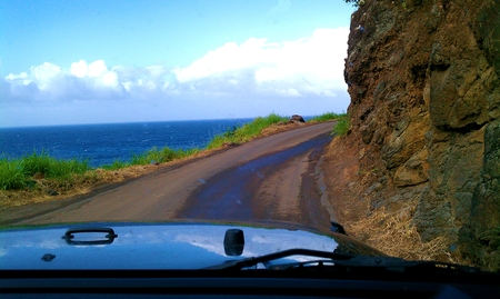 Rugged drive by the sea