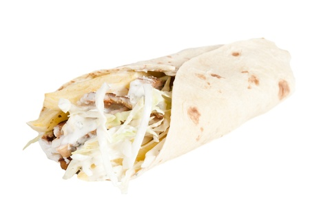 Homemade shawarma over a white background Stock Photo