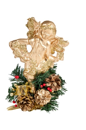 Gold christmas angel on white background