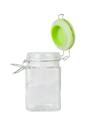 Empty glass jar on white background Stock Photo - 16482438