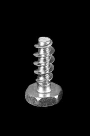 Screw on black background  Black and white Stock Photo - 16482423