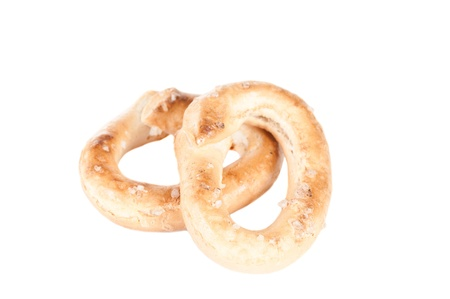 Crunchy pretzels on white background