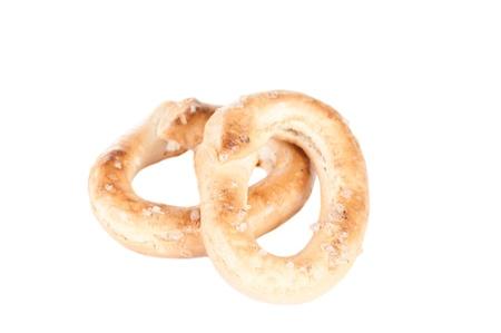 Crunchy pretzels on white background