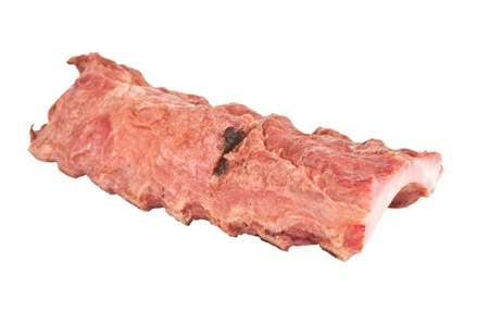 Smoked pork ribs on white background