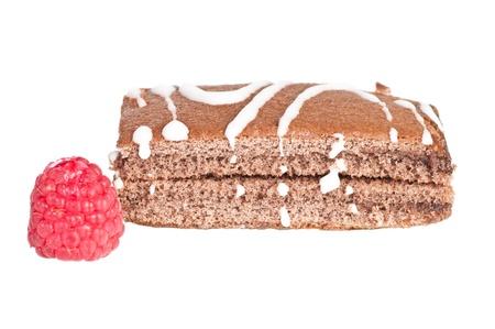 Homemade chocolate cake on white background