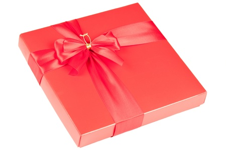 Red box with bow over a white background Stock Photo