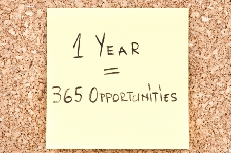 1 Year 365 Opportunities, handwritten on a sticky note.