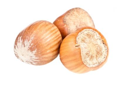 Hazelnuts over a white background