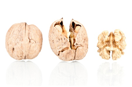 Walnuts on a reflective white background