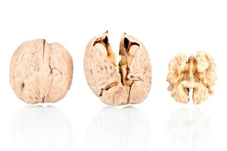 Walnuts on a reflective white background
