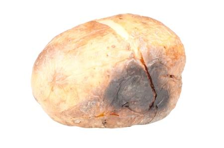 Baked potato over a white background