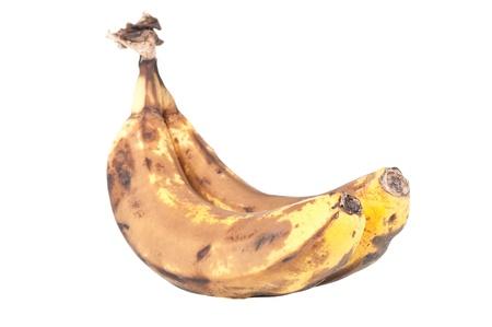 Overripe bananas isolated on white background