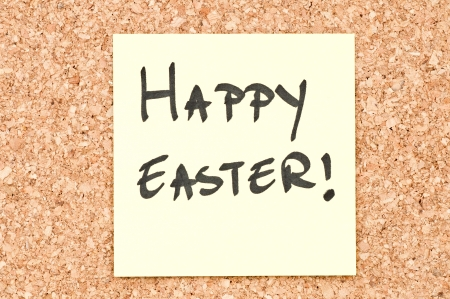 Happy Easter, handwritten on a sticky note