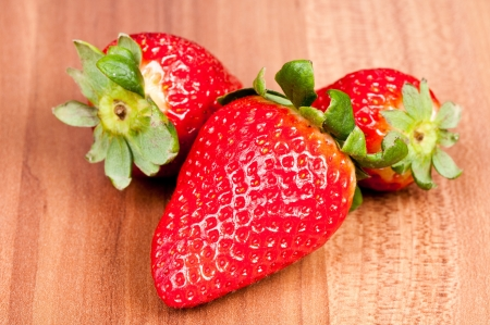 Strawberry over wooden background  Stock Photo