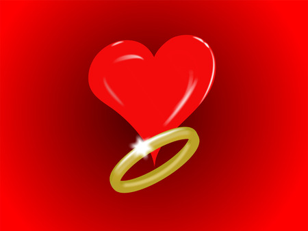 gold ring: Single Heart and Gold Ring