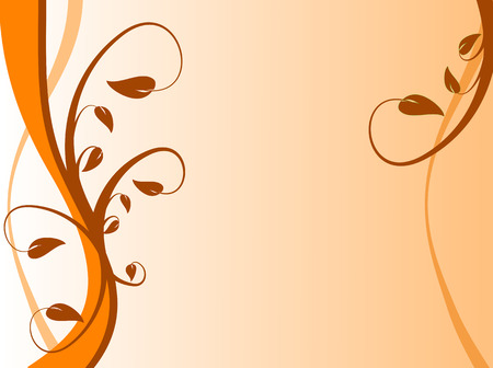 orange swirl: An abstract floral background with a strong orange swirl on the left with a floral design on a base light yellow ground Illustration