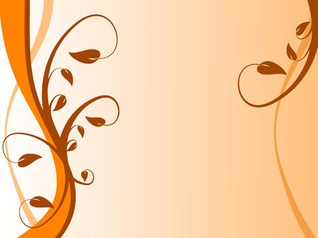 strong base: Un astratto floreale sfondo arancione con una forte turbolenza sulla sinistra con un disegno floreale su una base di luce gialla a terra Vettoriali