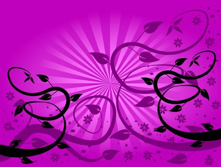 graduated: A  floral background with purple and black abstract trees on a graduated fan effect purple background