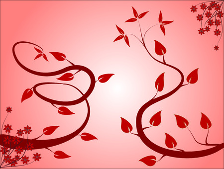 A floral background in shades of red with vines and leaves in blue in a landscape orientation on a pink and white graduated background
