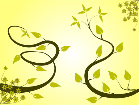 A floral background in shades of yellow and gold with vines and leaves in gold in a landscape orientation on a pale yellow and white graduated background