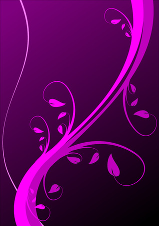 A floral background in shades of magenta and purple  with vines and leaves in shades of magenta in a portrait orientation on a dark purple background