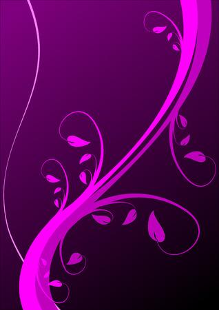 Un fondo de flores en tonos magenta y morado con las vides y hojas en tonos magenta en una orientación vertical sobre un fondo morado oscuro Foto de archivo - 2854684