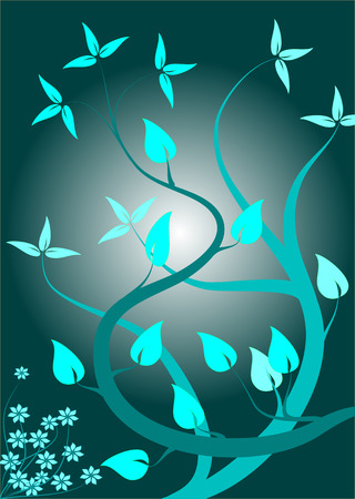 A floral background in shades of cyan blue with lighter leaves in a portrait orientation on a dark cyan background with a lighter centre