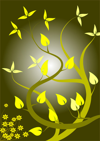 A floral background in shades of yellow with lighter leaves in a portrait orientation on a dark yellow background with a lighter centre Çizim