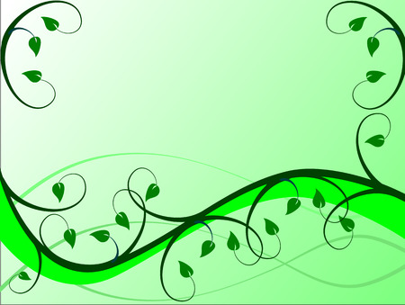 A floral background in shades of Green with leaves and swirls in a landscape orientation. The additional format is an vector saved in AI8 format.The illustration can be resized to any dimensions without loss of quality