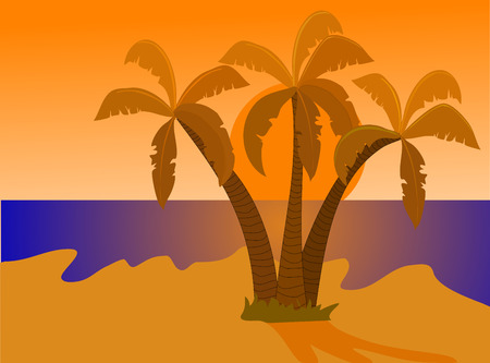 su: A tropical beach illustration at sunset with a large orange su on the horizon with three palms and the beach all bathed in evening orange sunlight shades . The illustration is an vector saved in AI8 format. The illustration can be resized to any