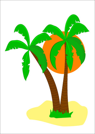 A tropical beach illustration with two palms and a large orange sun on a white isolated background. The illustration is an vector saved in AI8 format. The illustration can be resized to any dimension without loss of quality. Illustration