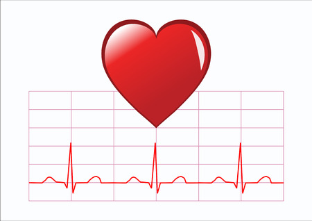 An illustration depicting a red heart and a normal healthy ECG trace isolated on white. The illustration is an vector saved in AI8 format. The illustration can be resized to any dimension without loss of quality Illustration