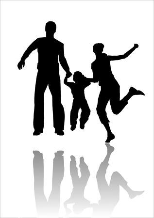 pavimento lucido: Una famiglia di una madre e il padre con un bambino piccolo in silhouette saltando contro uno sfondo con un isolato refezione su un pavimento lucido. L'illustrazione � un file EPS salvate in formato AI8. L'immagine pu� essere ridimensionata a qualsiasi dimensione senza Vettoriali