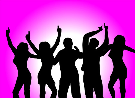 A group of dancers in silhouette in front of an magenta background with a white light in the centre. The illustration is saved as an vector in AI8 format Illustration